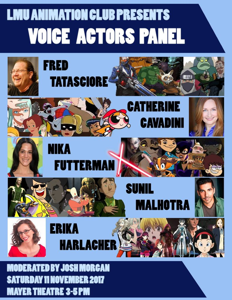 LMU Voice Acting Panel this Saturday, November 11th at 3pm!